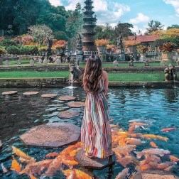 Tirta Gangga the Water Palace, Karangasem Bali Indonesia - Art, Finial, Garden, Outdoor structure, Painting, Person, Pond, Reflection, Starfish, Tourism, Tourist attraction, Water feature
