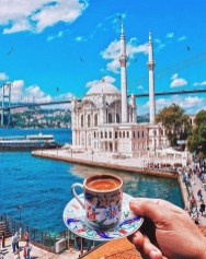 Ortaköy Mosque, Besiktas Istanbul Turkey - Coffee cup, Cup, Drink, Mosque, Tower