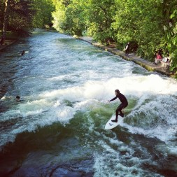 Eisbachwave, Munich Germany - Fluvial landforms of streams, Natural landscape, People in nature, Person, Plant, Sports equipment, Surfboard, Surfing, Tree, Water, Water resources, Watercourse