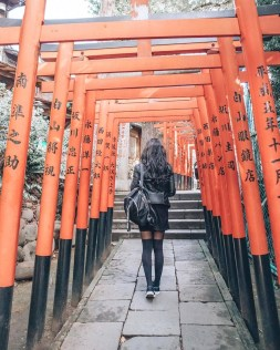 Taitō-ku, Tokyo Tokyo Prefecture Japan - Chinese architecture, Leisure, Line, Orange, Person, Public space, Red, Standing, Temple, Torii, Wood