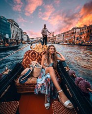 Venice, Italy - Bag, Boat, Body of water, Cloud, Dock, Dress, Flash photography, Happy, Leisure, Person, Sky, Sunlight, Travel, Water, Watercraft