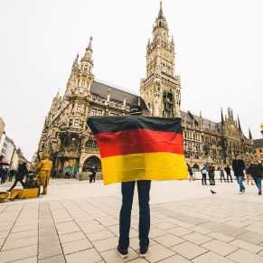 Hamburg City Hall, Munich Bavaria Germany - Architecture, Building, City, Daytime, Morning, Person, Public space, Road surface, Sky, Street fashion, Temple, Travel