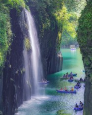 Takachiho Cho, Nishiusuki District Miyazaki Japan - Biome, Boat, Boats and boating--Equipment and supplies, Body of water, Chute, Fluvial landforms of streams, Landscape, Natural environment, Natural landscape, Paddle, Plant, Spring, Tree, Vegetation, Water, Water resources, Watercourse, Watercraft, Waterfall