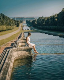 The Royal Palace of Caserta, Caserta Italy - Bank, Bridge, Dress, Happy, Horizon, Leisure, People in nature, Person, River, Sky, Sunlight, Travel, Tree, Water, Water resources, Watercourse, Wood