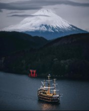 Fuji, Yamanashi Japan - Boat, Boats and boating--Equipment and supplies, Cloud, Lake, Landscape, Mountain, Naval architecture, Sky, Vehicle, Water, Watercraft