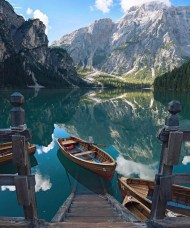 Pragser Wildsee, Mareo South Tyrol Italy - Azure, Bank, Boat, Boats and boating--Equipment and supplies, Cloud, Daytime, Green, Highland, Lake, Landscape, Leisure, Mountain, Natural landscape, Sky, Tree, Vehicle, Water, Watercourse, Watercraft, Wood