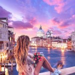 Venice,  Veneto Italy - Afterglow, Bag, Body of water, Building, Cityscape, Cloud, Daytime, Dress, Dusk, Flash photography, Happy, Leisure, Light, Morning, People in nature, Person, Sky, Sunrise, Sunset, Travel, Tree, Water