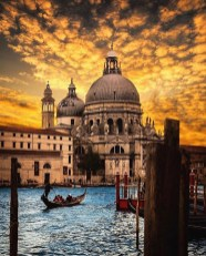 Santa Maria della Salute, Venice Italy - Architecture, Boat, Boats and boating--Equipment and supplies, Body of water, Building, Cloud, Daytime, Dusk, Gondola, Horizon, Lake, Sky, Travel, Water, Watercraft