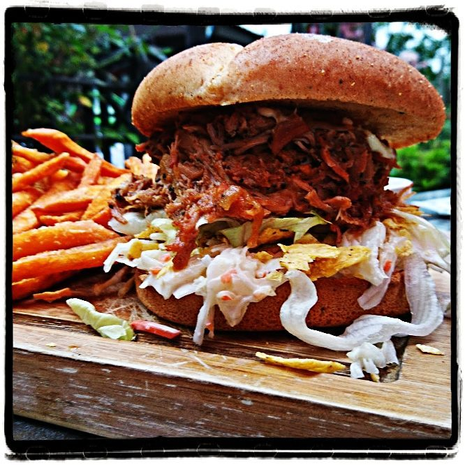 Pulled pork burger with sweet potatoes fries