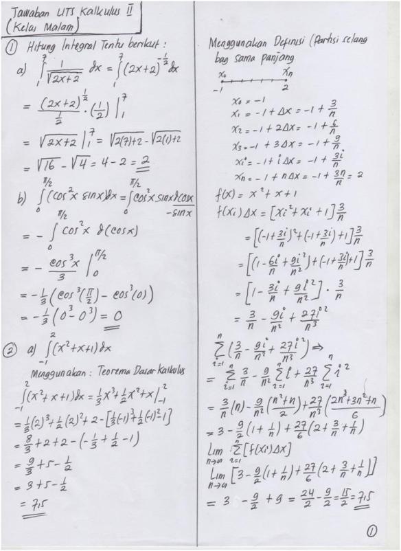 Jadi, ʃ 2 dx = 2x + c. Jawaban Uts Kalkulus Ii 2 5 2011 Kelas Malam Taufiqur Rokhman