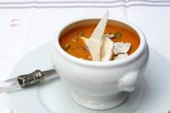 Crema de moniato i carabassa rostida especiada