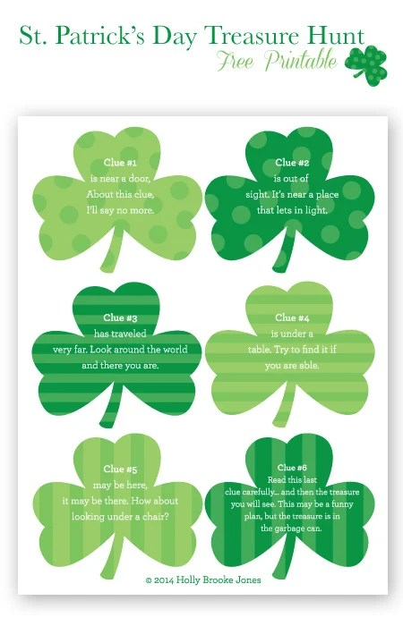 Don't miss out on this fun St. Patricks Day treasure hunt. Free printables available!