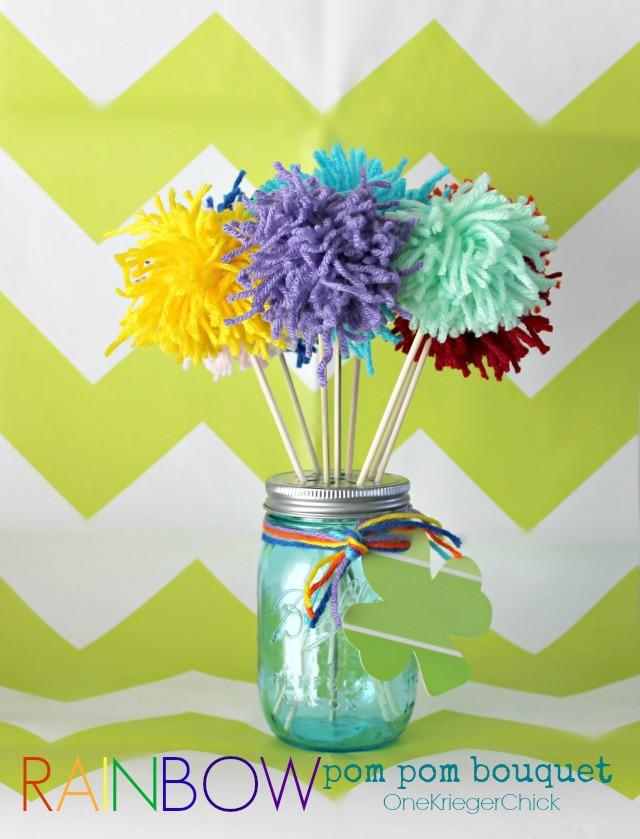 Colorful Rainbow Pom Pom bouquet