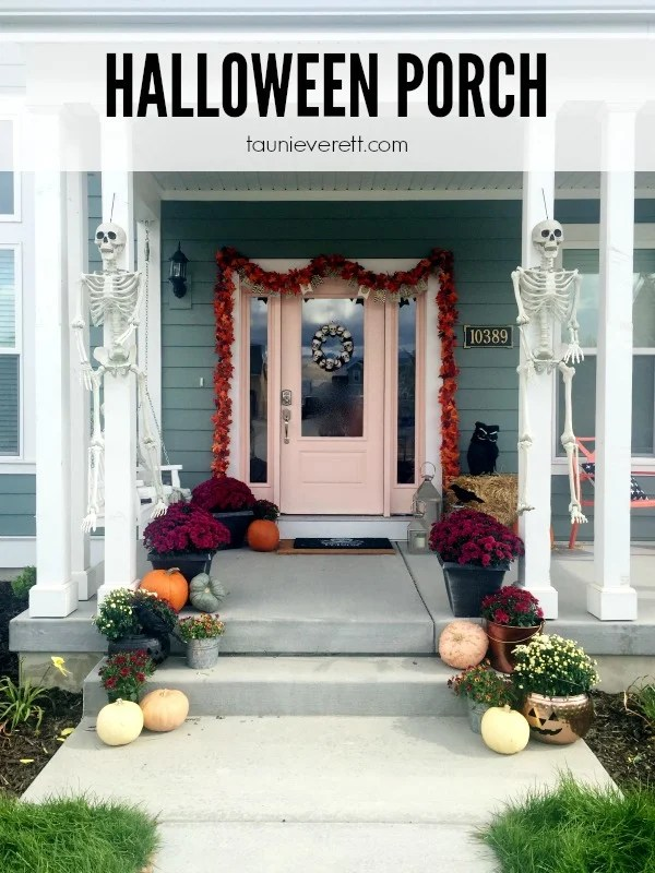 Halloween Porch Ideas. There are some great ideas in this post for saving money and creating a Halloween porch that easily transitions to fall/Thanksgiving.
