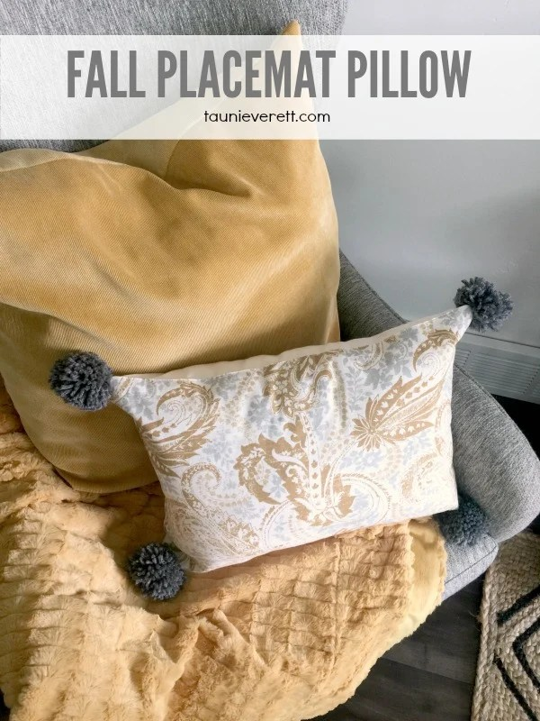 Learn how to make a placemat pillow. These pillows can be made in less than 15 min. and cost a fraction of what a regular store bought pillow would run.