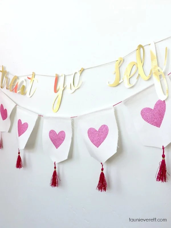 Treat Yo' Self Banner and Photo Booth Backdrop. Free stencil/cut file.
