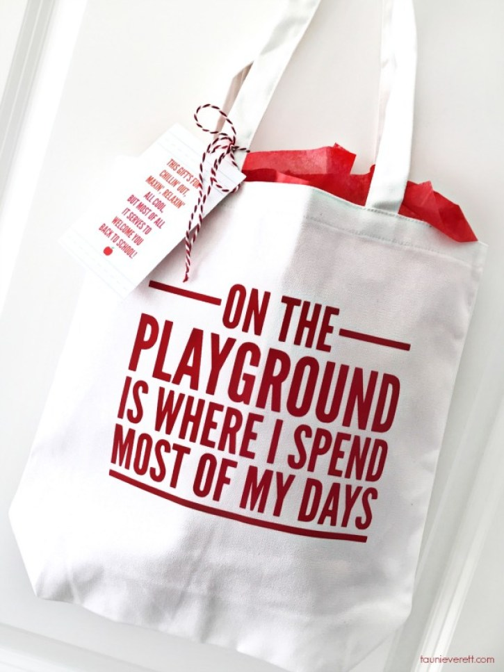 DIY On the Playground Teacher's Tote + Free Cut File
