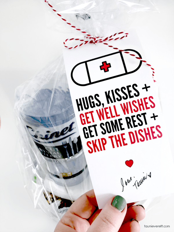 Get Well Skip the Dishes Gift Tag. #printable #gifttag #getwell #getwellgift