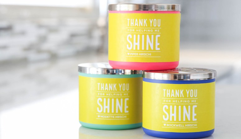 "Teacher Gift Idea: ""Thanks For Helping Us Shine"" Free Printable Candle Wrap"