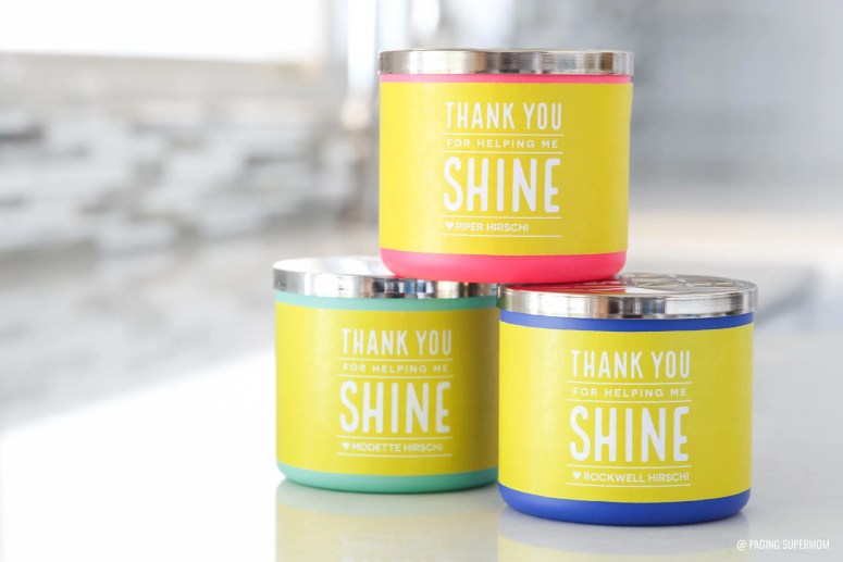 """""""Thank You for Helping Us Shine"""" Teacher Gift Tag for a candle teacher appreciation gift from @PagingSupermom via @TauniandCo"""