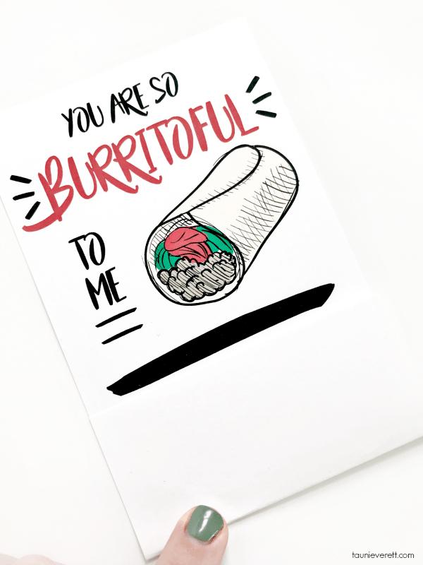 Free printable You Are Burritoful Gift Card Holder. Perfect for teens! #printable #giftcard #gift #tacotuesday