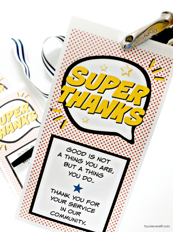 Community Super Thanks Printable Gift Tag. Great service idea for the family, or use as a simple thank you #printable #thankyou #gifttag #hero