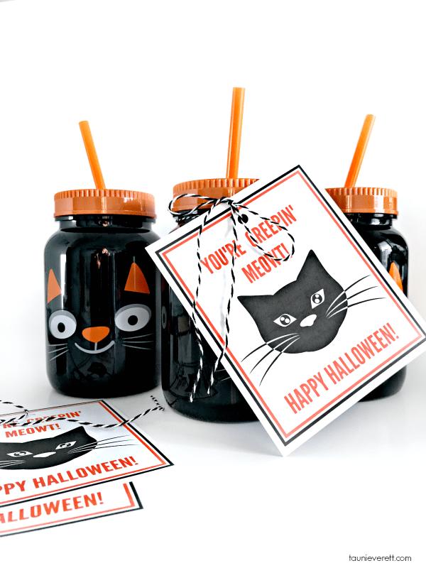 Black cat printable halloween gift tag © tauni everett 2018 44600