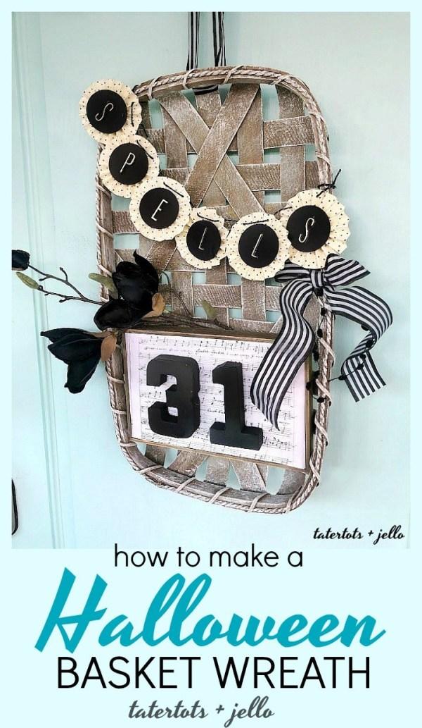 How to make a halloween basket wreath