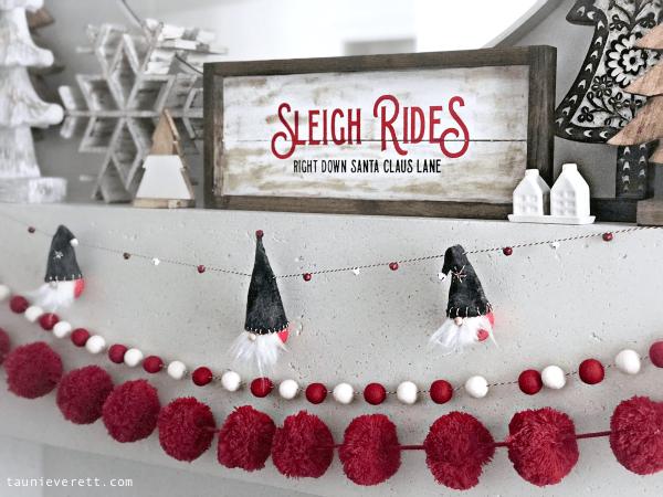 DIY Sleigh Ride Christmas Sign + Free Cut File Stencil #holidaysign #christmassign #cutfile #svg #cricut #silhouette #christmas #christmasdecor #santaclaus #sleigh