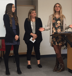 current leadership: Kristina Fisher (secretary), Kayla McHugh (treasurer), and Amanda Zylstra (president)