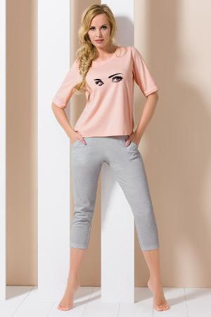 Pyžamový set ružovo sivé model PY102