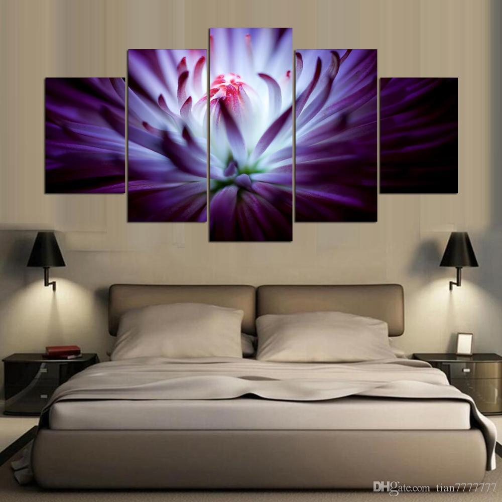 2019 New Modern Art Blooming Flower Painting On Canvas Home Decor with regard to Modern Art Bedroom