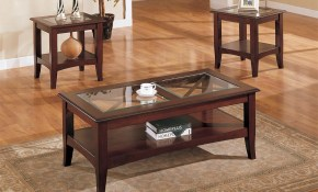 3 Piece Glass Dark Brown Finish Living Room Table Set Furniture with regard to Three Piece Living Room Table Set