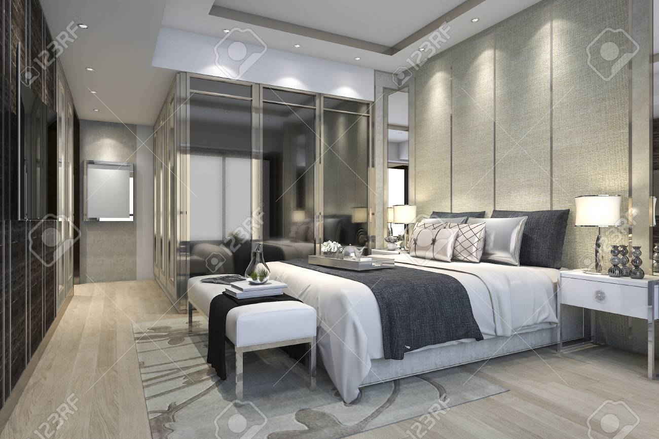 3d Rendering Luxury Modern Bedroom Suite In Hotel With Wardrobe regarding Modern Bedroom Suite