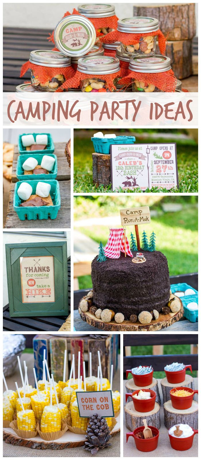 A Backyard Camping Boy Birthday Party With Fun Foods Smores Mason with regard to Backyard Camping Ideas For Adults