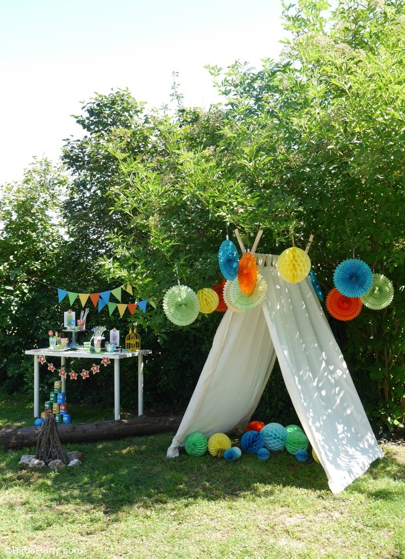 A Summer Backyard Camping Party With Free Printables Party Ideas inside Summer Backyard Ideas