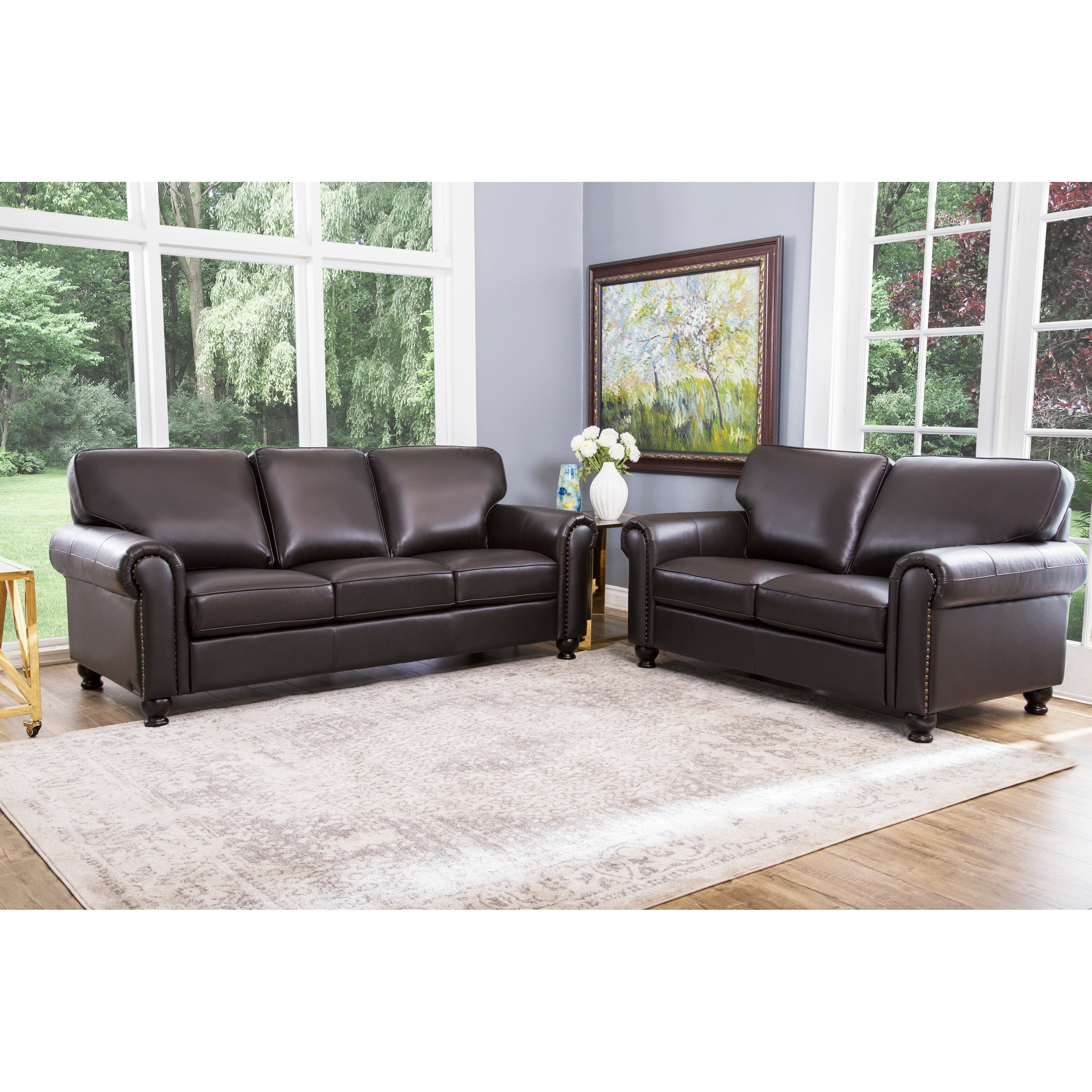 Abson London Top Grain Leather 2 Piece Living Room Set throughout Living Room Set Cheap