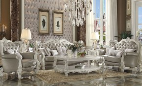 Acme Versailles Vintage Gray Bone White Living Room Set Versailles intended for White Living Room Sets
