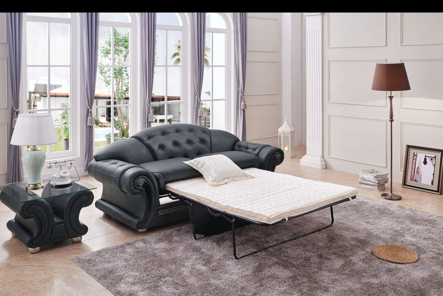 Apolo Living Room Set Wsofa Bed Black Buy Online At Best Price in Living Room Set On Sale
