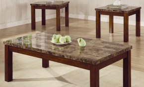 Arden 3 Piece Marble Look Top Coffeeend Table Set Coffee Table throughout Table Sets Living Room