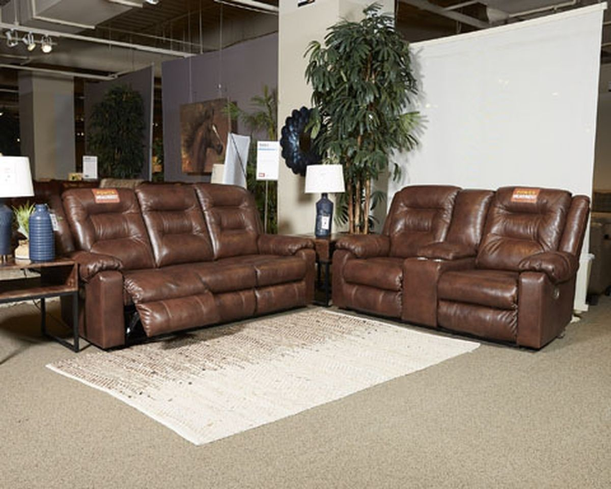 Ashley Furniture Golstone Power Recliner Living Room Set In Canyon regarding Living Room Leather Set