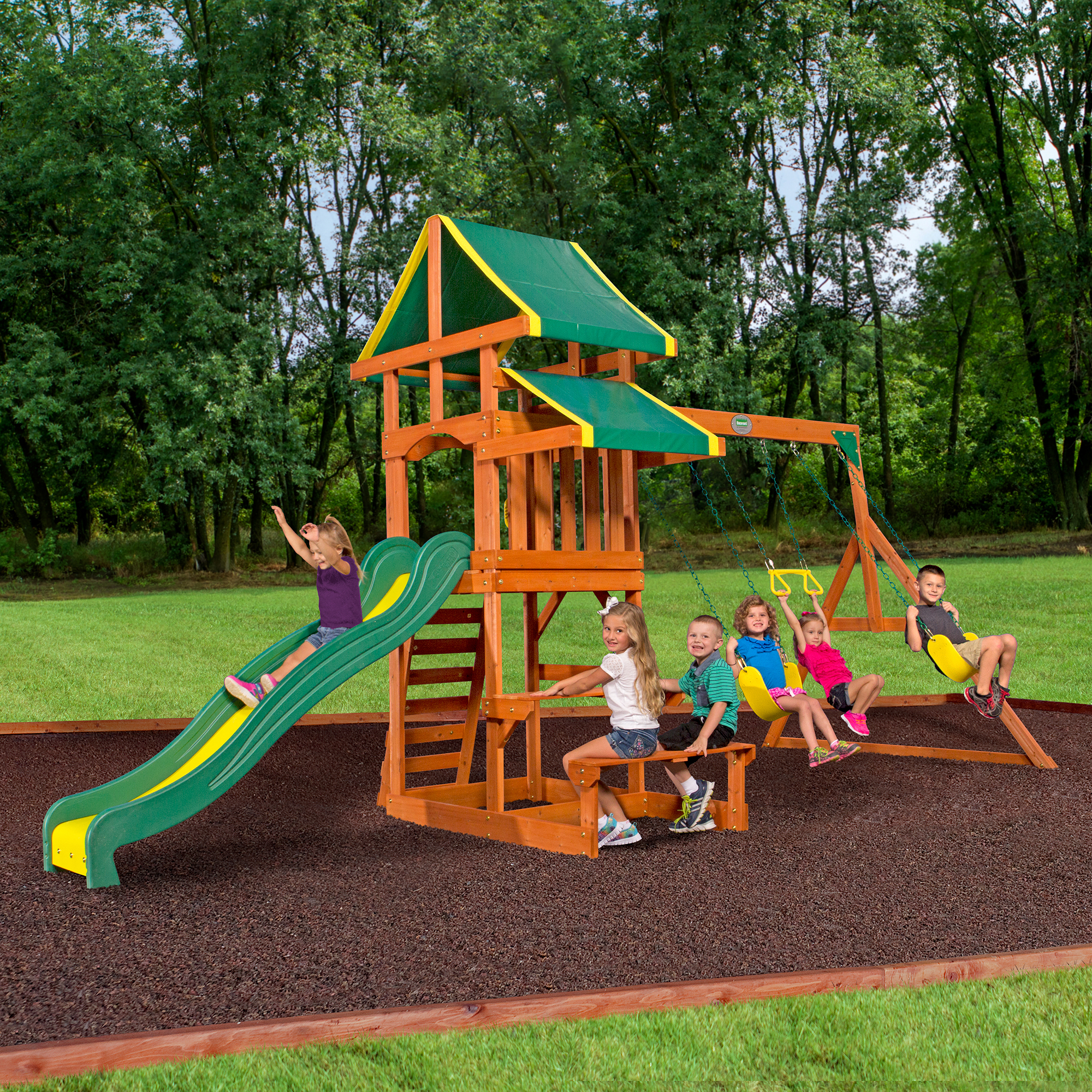 Backyard Discovery Tucson Cedar Wooden Swing Set Walmart regarding 10 Smart Initiatives of How to Build Cheap Backyard Playground Ideas