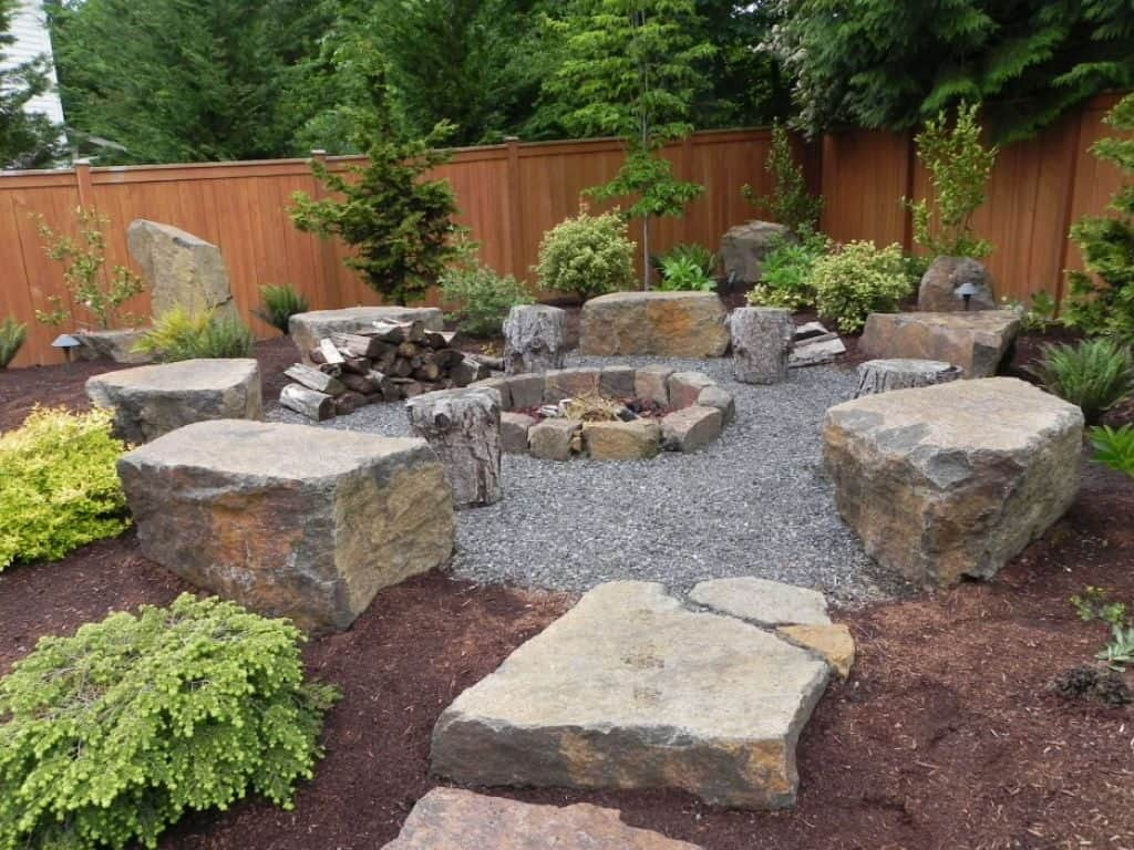 Backyard Landscaping With Stone Fire Pit And Boulders Nice pertaining to Backyard Landscaping Ideas With Stones