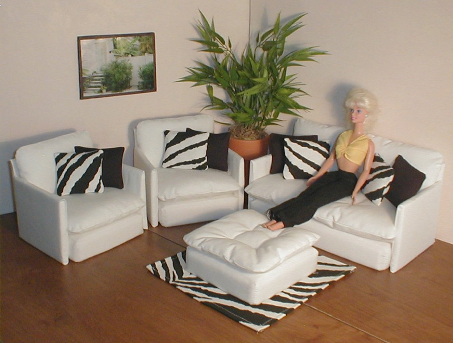 Barbie Doll Furniture White Living Room Set W Black And Zebra Etsy throughout 13 Some of the Coolest Ways How to Make White Living Room Sets