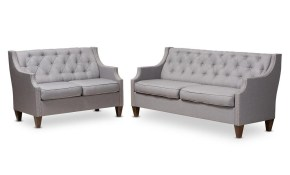 Baxton Studio Celine 2 Piece Gray Living Room Set 150 87638764 Hd in White Living Room Sets