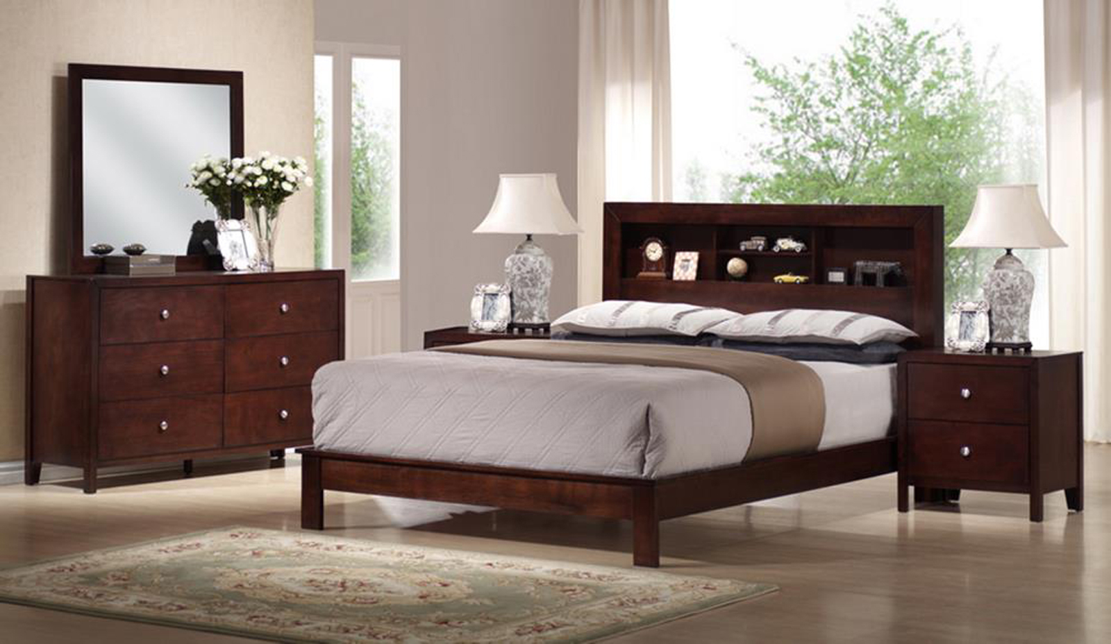 Baxton Studio Montana Mahogany Brown Wood 5 Piece Queen in Modern Bedroom Sets Queen