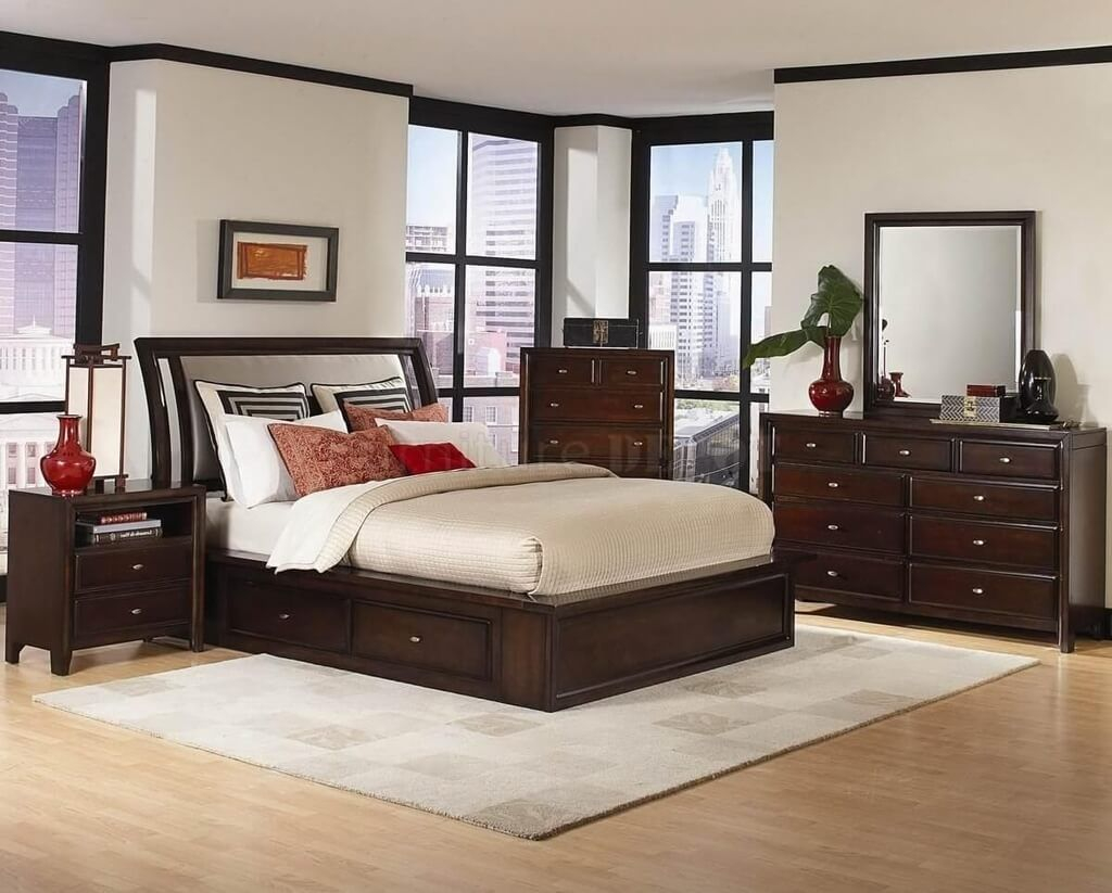 Bedroom Stained Wooden Modern Bedroom Sets With Sleigh Bed Best in Modern Style Bedroom Sets
