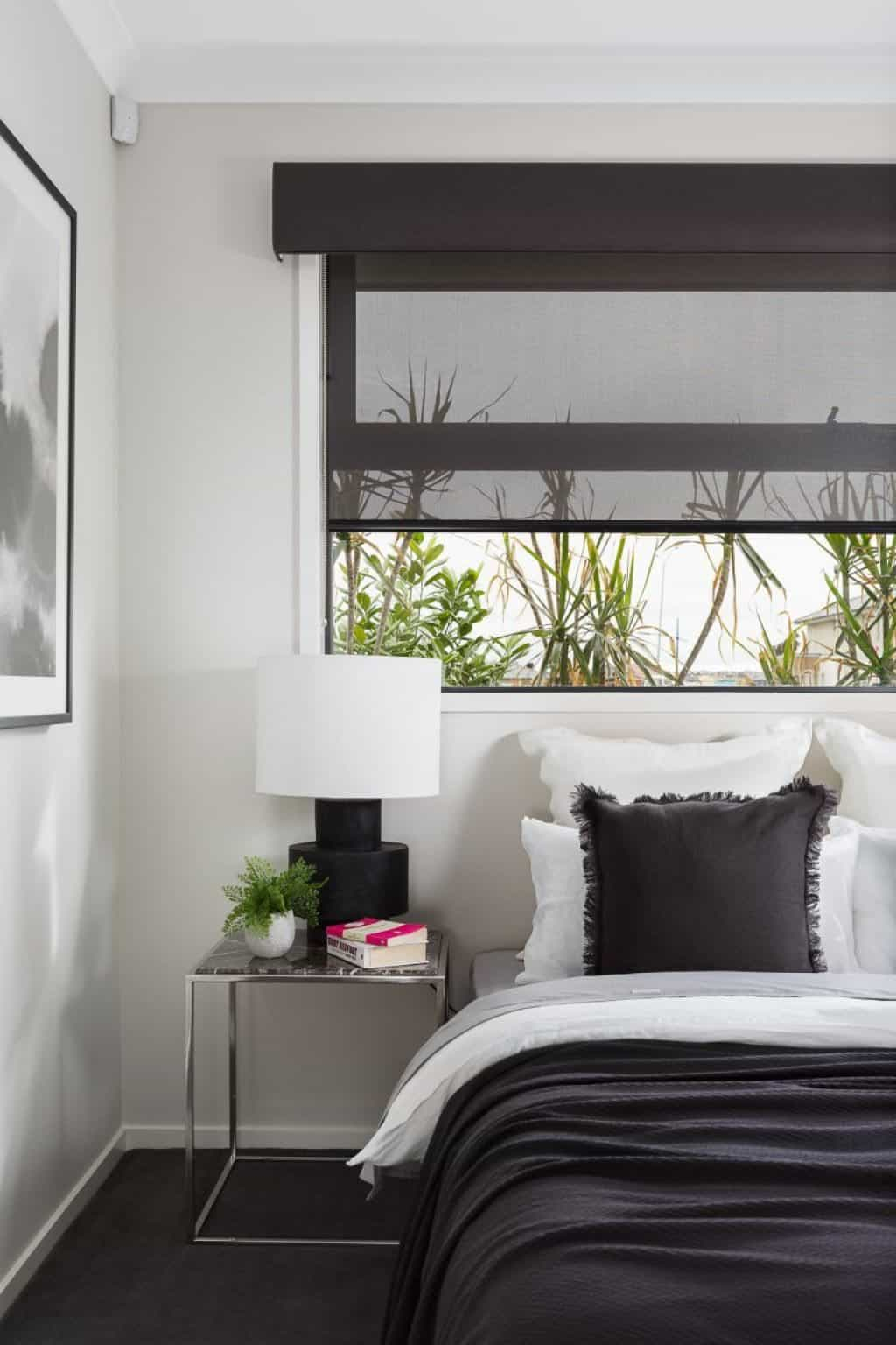 Bedroom With Black Roller Window Blinds The Benefits Of Window for 11 Smart Initiatives of How to Improve Modern Bedroom Blinds