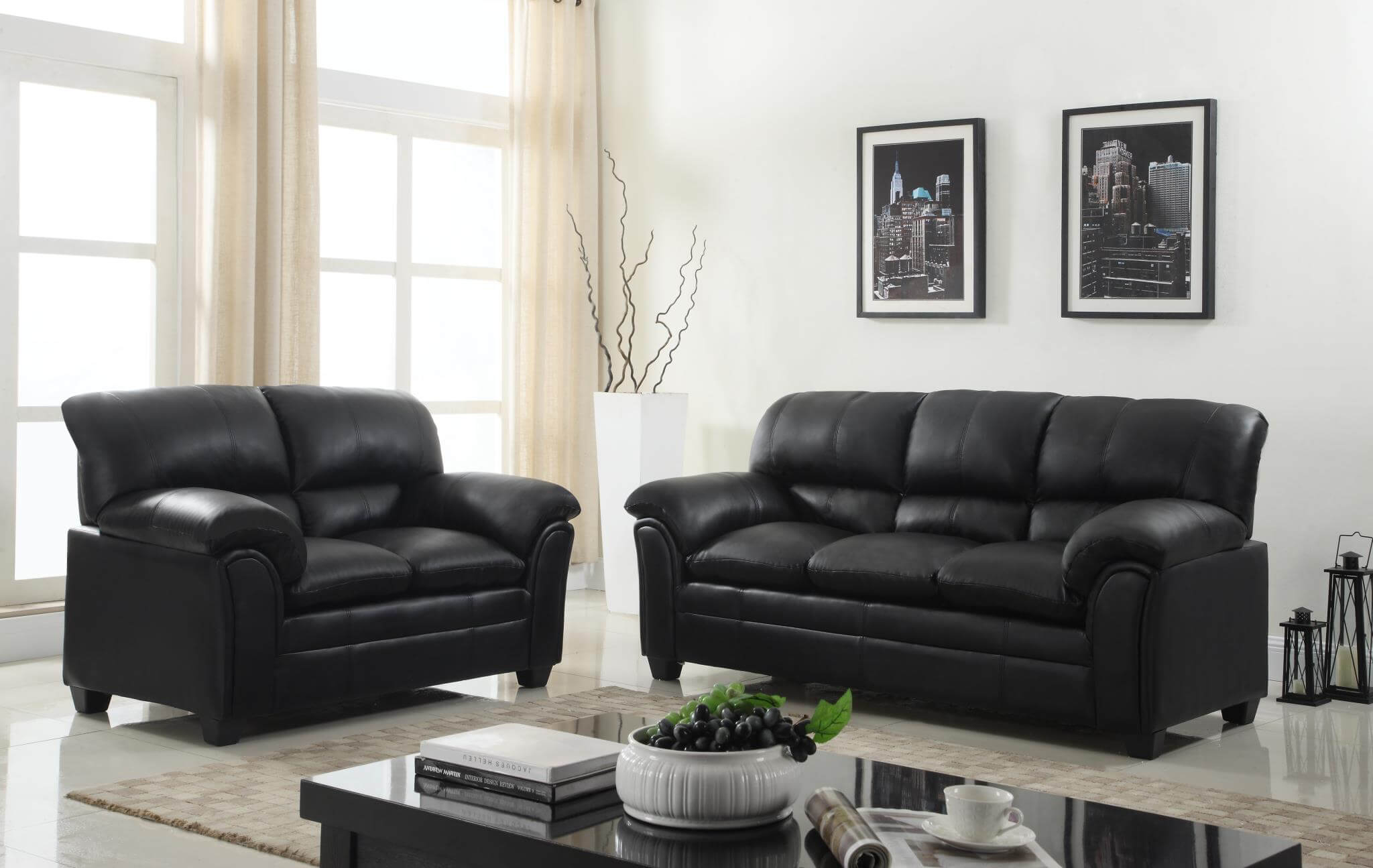 Black Sofa And Loveseat Leather Living Room Sets pertaining to 12 Awesome Tricks of How to Make Black Leather Living Room Set