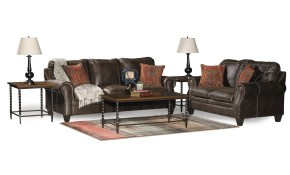 Classic Traditional Brown 7 Piece Living Room Set Shiloh Rc inside 7 Piece Living Room Sets
